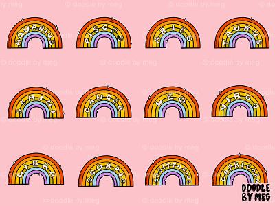 Zodiac Rainbows pride month lgbt pride rainbow zodiac signs astrology horoscope zodiac sign zodiac procreate vintage lettering typography drawing illustration design