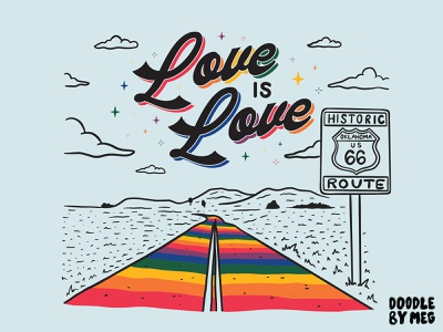 Love is Love t-shirt for Mother Road Market rainbow route 66 oklahoma pride month pride t-shirt procreate vintage lettering typography drawing illustration design
