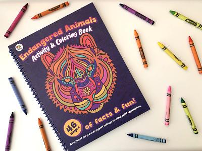 Doodle Hog: Endangered Species Coloring Book animal endangered species animals tiger coloring book procreate lettering typography drawing illustration design