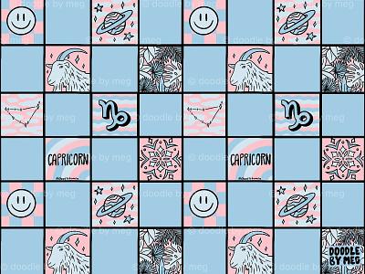 Capricorn Checkered Print astrology horoscope zodiac pattern print checkerboard checkered checker capricorn procreate vintage lettering typography drawing illustration design