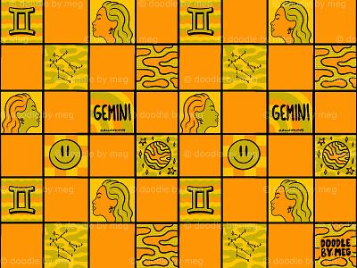 Gemini Checkered Print astrology horoscope zodiac pattern print checkerboard checkered checker gemini procreate vintage lettering typography drawing illustration design