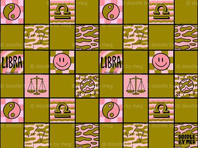 Libra Checkered Print balance yin yang astrology horoscope zodiac libra checkerboard checkered checker procreate vintage lettering typography drawing illustration design