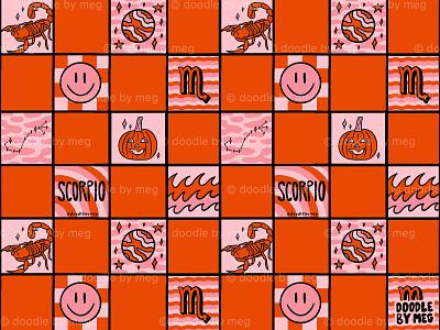 Scorpio Checkered Print red pink scorpion pattern print astrology horoscope zodiac scorpio procreate vintage lettering typography drawing illustration design