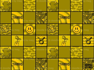 Taurus Checkered Print astrology horoscope zodiac taurus checkerboard checkered checker pattern print procreate vintage lettering typography drawing illustration design