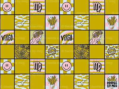 Virgo Checkered Print pattern print horoscope zodiac astrology checkerboard checkered checker virgo procreate vintage lettering typography drawing illustration design