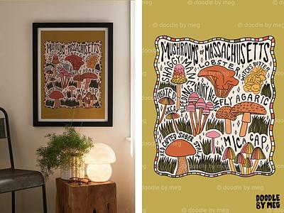 Mushrooms of Massachusetts at Urban Outfitters 70s 60s nature forest cottage massachusetts mushrooms mushroom procreate vintage lettering typography drawing illustration design