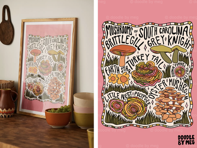 Mushrooms of South Carolina at Urban Outfitters psychedelic plants nature cottage forest south carolina mushrooms mushroom procreate vintage lettering typography drawing illustration design