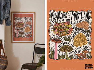 Mushrooms of Maryland at Urban Outfitters plants forest cottage nature maryland mushrooms mushroom procreate vintage lettering typography drawing illustration design