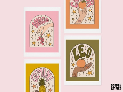 Zodiac Fruit Collection at Nordstrom hands hand fruits fruit astrology horoscope zodiac signs zodiac procreate vintage lettering typography drawing illustration design