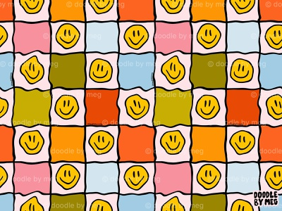 Smiley Checkered Prints surface pattern design rainbow smiley face smiley checkerboard checkered checker surface pattern pattern procreate vintage drawing illustration design