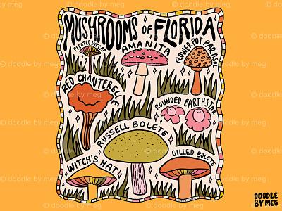 Mushrooms of Florida plants nature cottage core cottage forest mushrooms mushroom florida procreate vintage lettering typography drawing illustration design