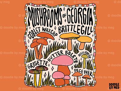 Mushrooms of Georgia plants georgia forest cottage core cottage nature mushrooms mushroom procreate vintage lettering typography drawing illustration design