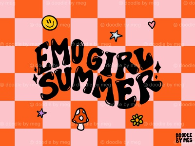 Emo Summer nostalgia 2000s smiley face mushrooms psychedelic wavy emo checkerboard checkered checker procreate vintage lettering typography drawing illustration design