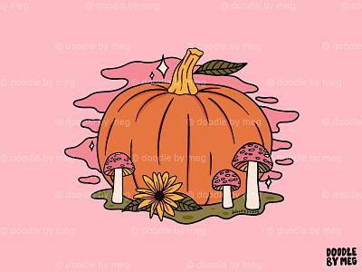 Fall Pumpkin cottage core forest mushrooms nature mushroom halloween autumn pumpkin fall procreate vintage lettering typography drawing illustration design