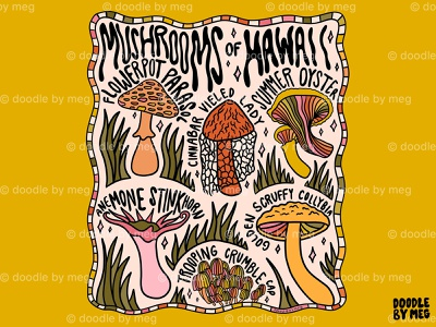 Mushrooms of Hawaii forest rainbow psychedelic nature cottage core hawaii mushrooms mushroom procreate vintage lettering typography drawing illustration design