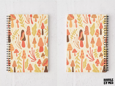 Spring Mushroom Print Spiral Notebook forest cottage core surface pattern urban outfitters journal notebook pattern print leaves nature mushrooms mushroom procreate vintage lettering typography drawing illustration design