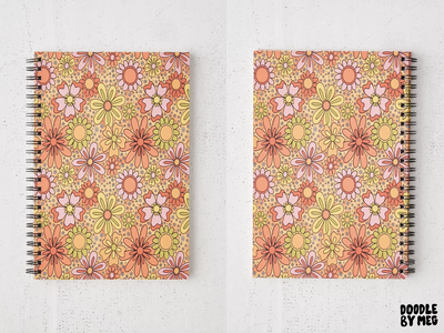 Groovy Flowers in Orange Spiral Notebook urban outfitters rainbow floral print tie dye hippie 70s 60s surface pattern groovy flowers flower procreate vintage lettering typography drawing illustration design