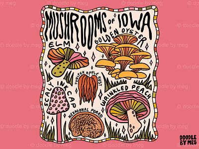 Mushrooms of Iowa plants flowers leaves nature forest cottage core 70s 60s mushrooms mushroom iowa procreate vintage lettering typography drawing illustration design