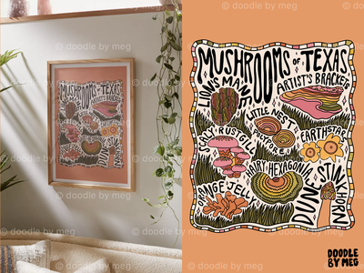 Mushrooms of Texas at Urban Outfitters forest cottage core nature 70s 60s psychedelic texas mushrooms mushroom procreate vintage lettering typography drawing illustration design