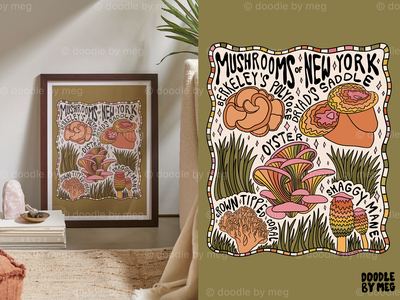 Mushrooms of New York at Urban Outfitters new york 70s 60s cottage core forest nature mushrooms mushroom psychedelic procreate vintage lettering typography drawing illustration design