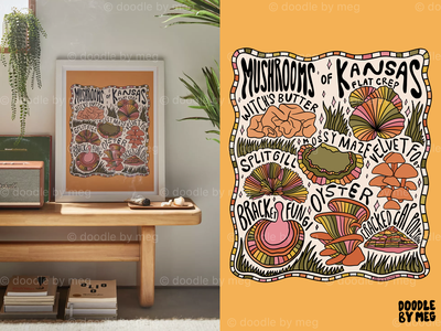 Mushrooms of Kansas of Urban Outfitters 70s 60s kansas cottage core nature mushrooms mushroom psychedelic procreate vintage lettering typography drawing illustration design