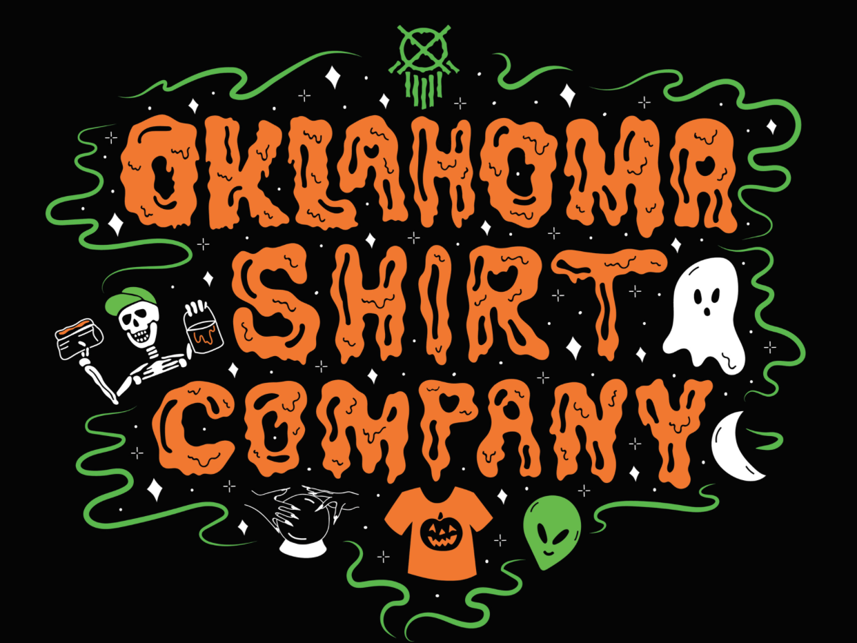 October Shirt Design for Oklahoma Shirt Company pumpkin ghost spooky skull halloween branding logo icon 70s 60s vintage retro psychedelic vector drawing quote typography lettering illustration design