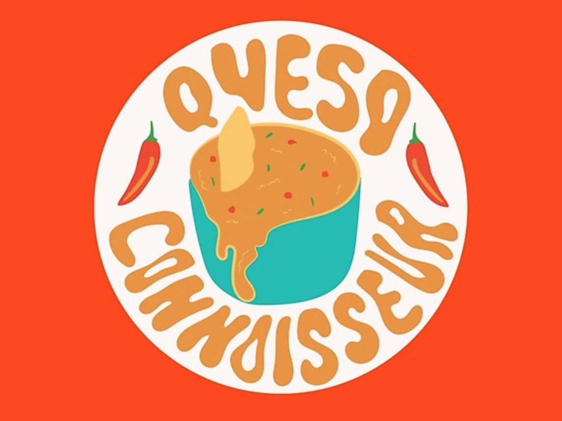 Queso Connoisseur tex-mex mexico mexican food cheese texas peppers mexican food queso branding logo orange badge quote vector typography lettering drawing illustration design