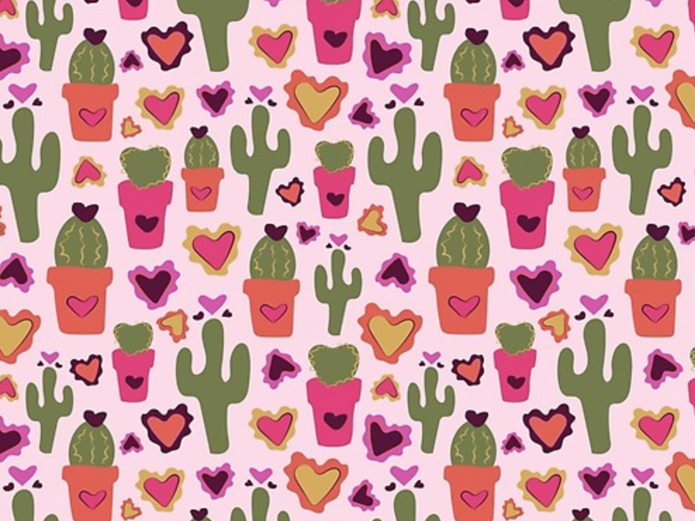 A Cactus for Valentines doodle cute saguaro house plant valentine day valentine pink hearts repeat pattern print and pattern print plants succulent cactus vintage retro vector drawing illustration design