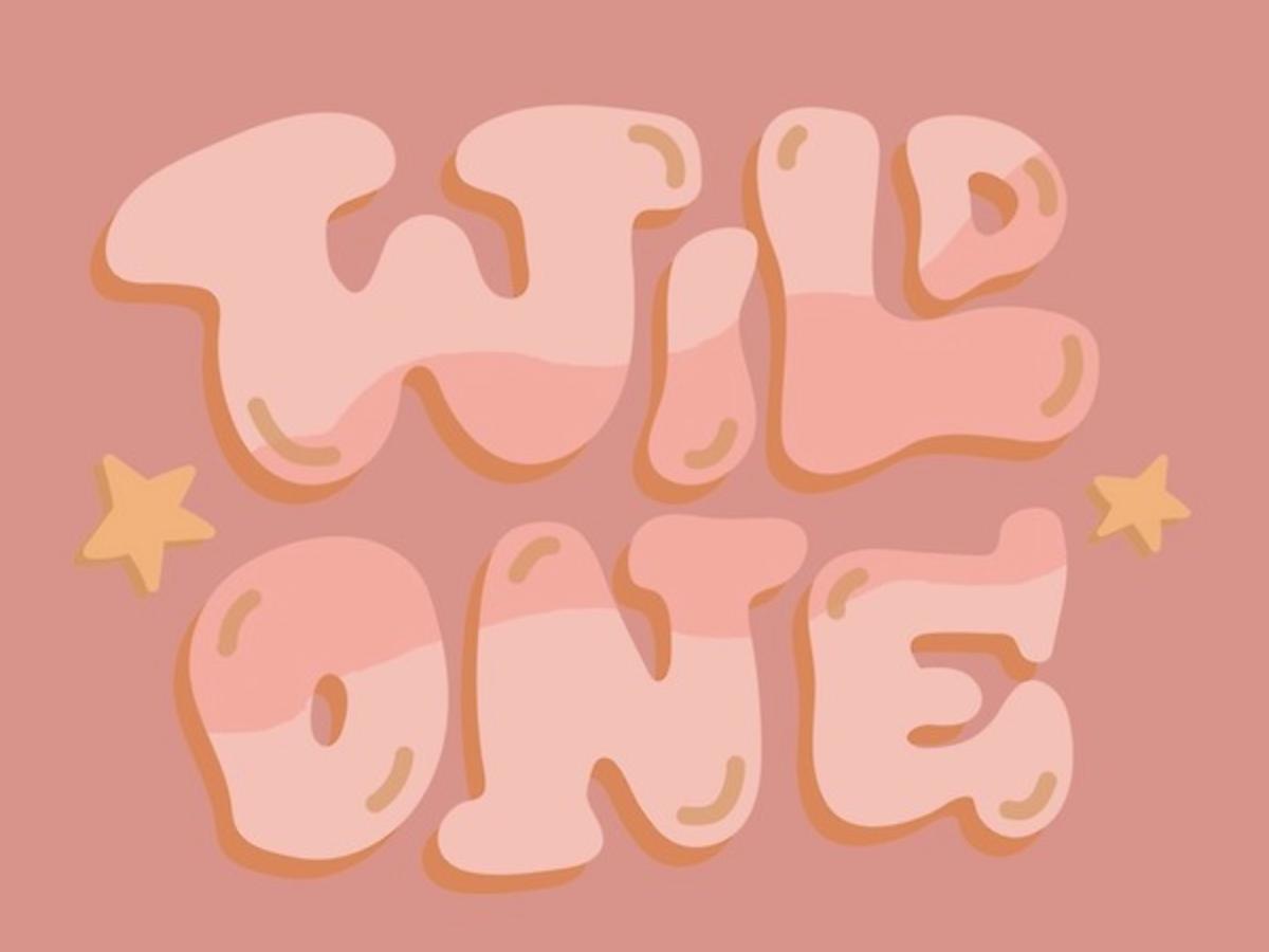 Wild One west stars young childlike kid western wilderness wild logo orange pink retro vintage quote lettering typography vector drawing illustration design