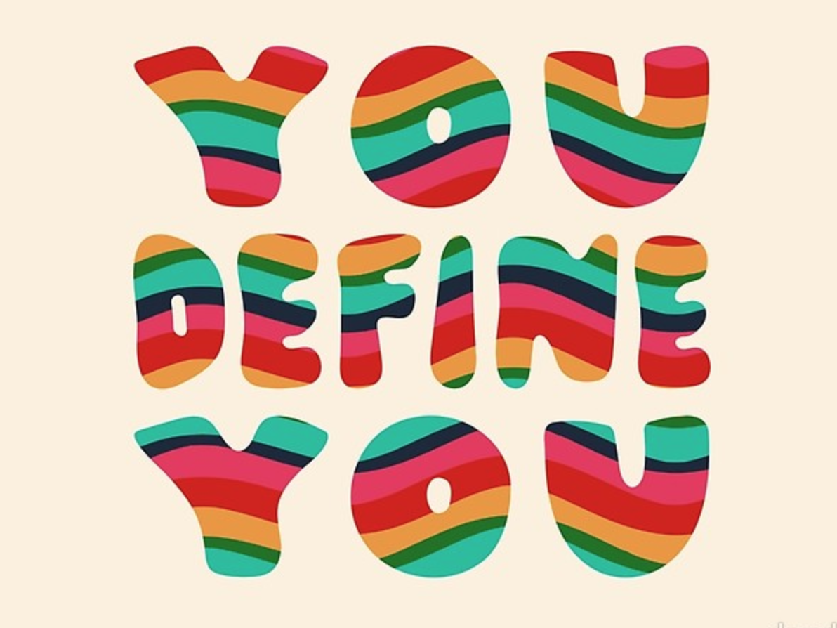 You Define You illustrator hand lettered font hand lettered colorful rainbows waves layers lines rainbow psychedelic retro vintage quote lettering typography vector drawing illustration design