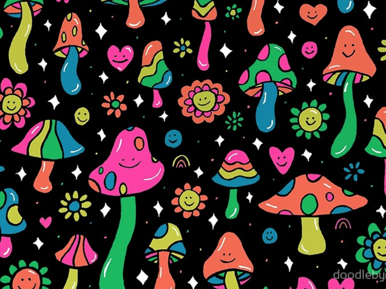 Rainbow Mushrooms print design pattern hippies hippie rainbows rainbow flowers mushrooms mushroom 60s 70s pink psychedelic orange retro vintage vector drawing illustration design