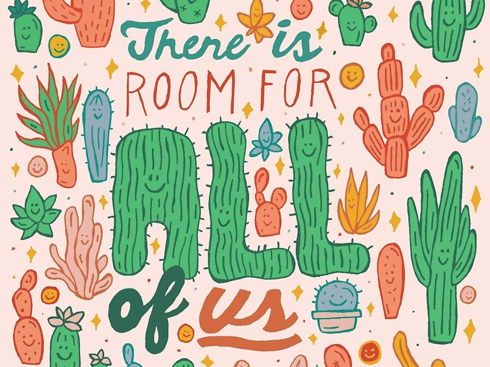 Room for All plant plants nature botanical green prickly pear positive happy type empowerment saguaro succulent cactus orange quote lettering typography drawing illustration design