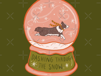 Dashing through the snow puppy australian shepherd border collie procreate art christmas card dog procreate snowglobe snow winter christmas quote typography drawing illustration design