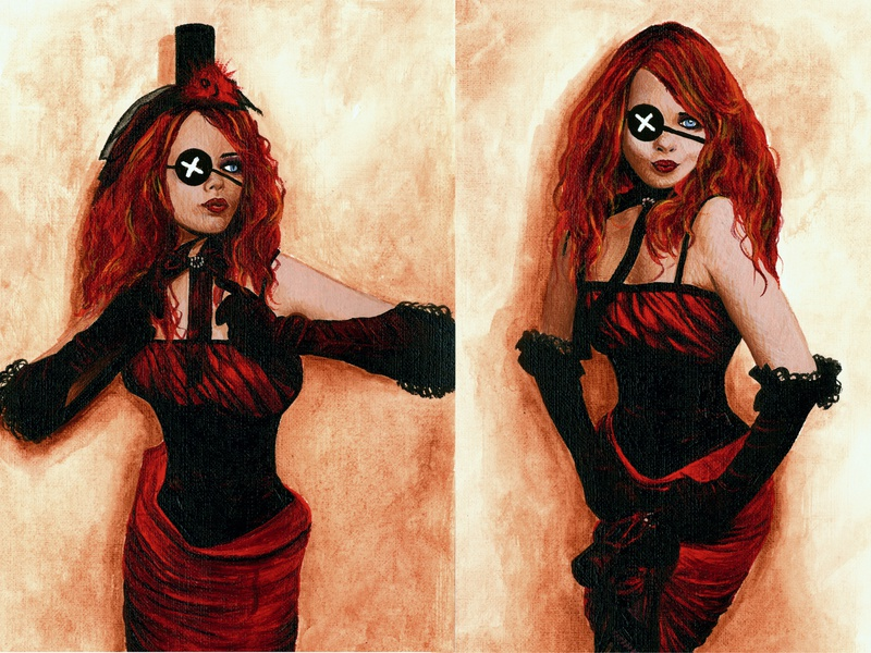 Goth1 2 costumes goth girl portrait costume painting paintings
