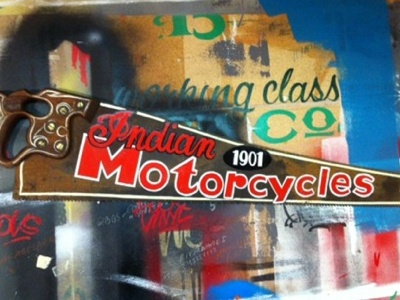 Indian Motorcycles - 1901 - Enamel on Vintage Handsaw indian motorcycles hand painted signage vintage saw freehand lettering enamel 1shot pinstriping