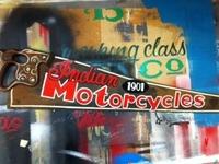 Indian Motorcycles - 1901 - Enamel on Vintage Handsaw