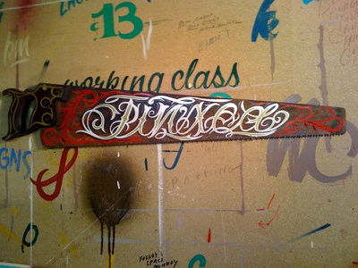 Jinxed - Hand Lettered Antique Hand Saw working class creative lettering design pinstriping flourishes philadelphia antique hand saw