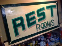 Restrooms Sign, 4' x 3' - Enamel on Marine Grade Ply