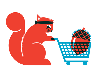 Squrellll overlay shoppingcart nut squirrel illustration