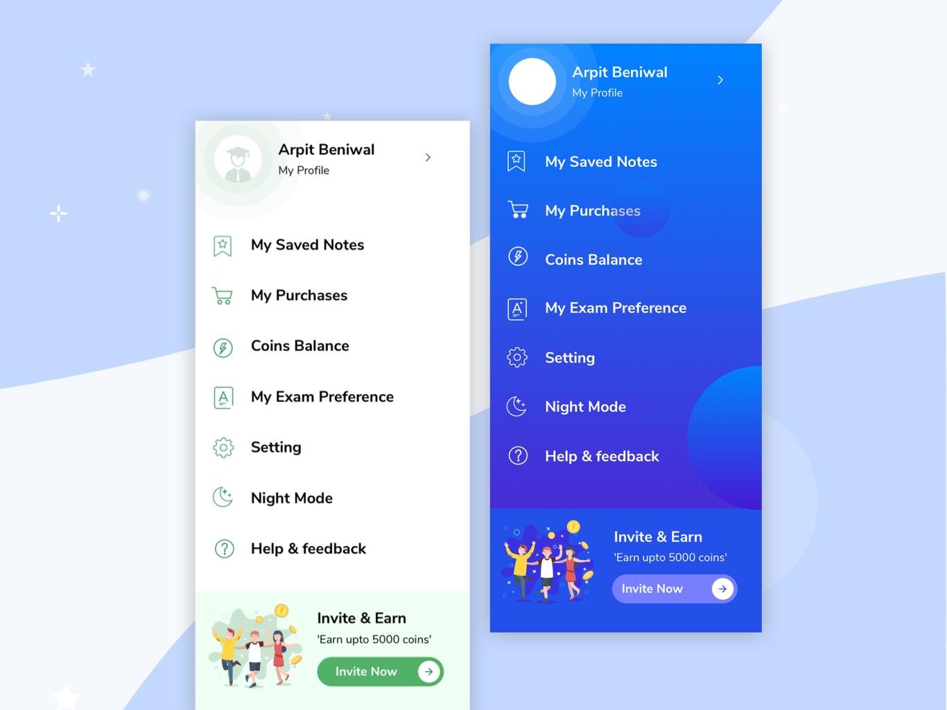 Profile Nav Bar Android app Gradeup app by Saurabh Rai on