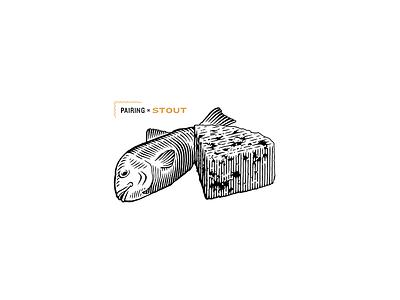 Pairing Stout for Spelta fish lemon cheese illustration engrave pairing bottle craft beer beer lettering