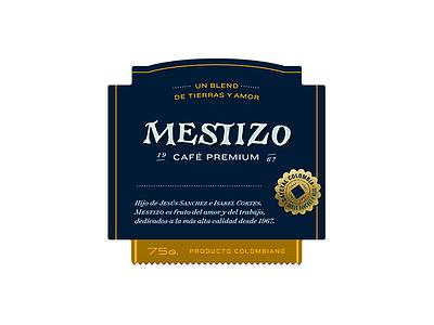 Mestizo label premium blend label packaging coffee handmade lettering logo