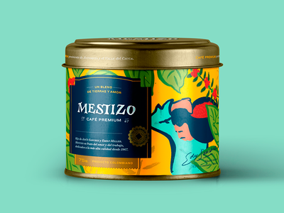 Mestizo coffee packaging illustration calligraphy packaging coffee handmade lettering logo