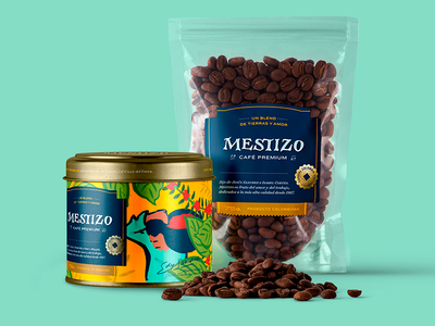 Mestizo coffee packaging badge coin colombia logo sign label packaging coffee café