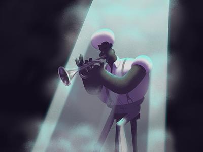 Trompetista mood melacholic trumpeter trumpet jazz illustration
