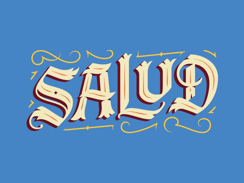 Salud flourish handmade custom lettering wine beer salud cheers
