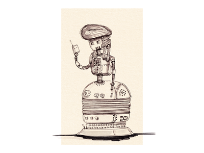Lady Robot in Dress steampunk illustration art retro robot girl dress lady ink