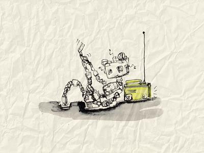 Robot-Girl with Radio retro illustration art ink radio girl robot