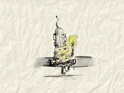 Robot with Glass steampunk boy illustration art retro ink robot