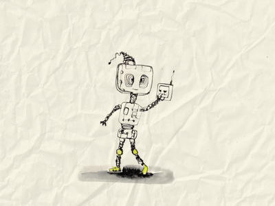 Robot with Mobile boy illustration drawing traditional art ink retro robot